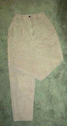 New York Style Brand Pants Brown n Khaki Ladies Sz 4 Small Check Pattern