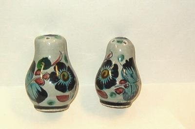 Floral Pattern Salt and Pepper Shakers Made in Mexico Handpainted Vintage