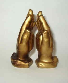 Vntg Bronze Color Praying Hands Salt Pepper Shakers by Enesco Japan Label