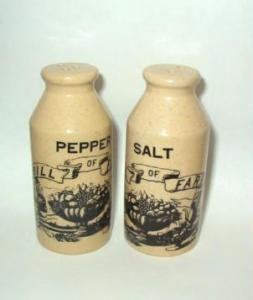 Unused Bill of Fare Milk Bottle Motif Vintage Salt and Pepper Shakers Dated 1973