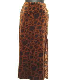 Tracy Evans Long Velour Skirt Black/Brown Print - New - Junior Sz 5