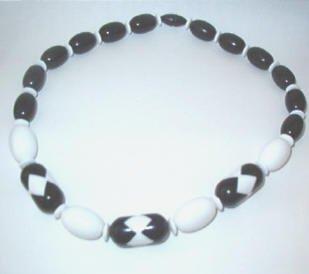 Vintage Black and White Diamond Pattern Necklace Estate Find