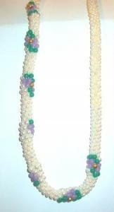 Faux Pearl 24 inch Necklace Featuring Lavender Flower Stations Vintage - Estate Find