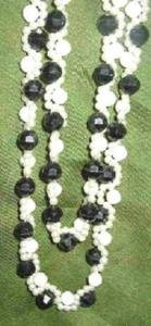 30 inch Vintage Black and White with Faux Pearl Necklace Estate Find
