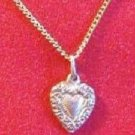Heart Shaped Pendant on 18 inch Gold Tone Necklace Estate Find