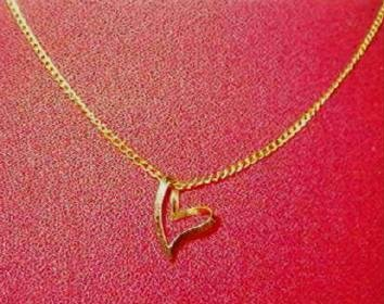 Abstract Floating Heart on 18 inch Gold Tone Necklace Estate Find