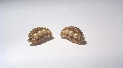 Pearl and Gold Tone Clip On Earrings ~ Signed Trifari Vintage Estate Find