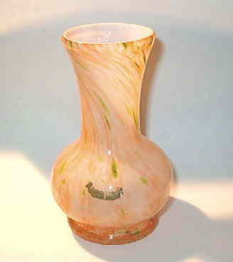 Slag - End of Day - Stretch Art Glass Vase Canadian Souvenir Orange Green