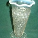 Lovely Moonstone Hobnail Vase w Opalescent Trim Mid 20th Century Style Vintage
