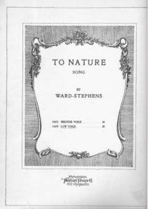 To Nature Song Sheet Music by Ward Stephens 1918 Antique