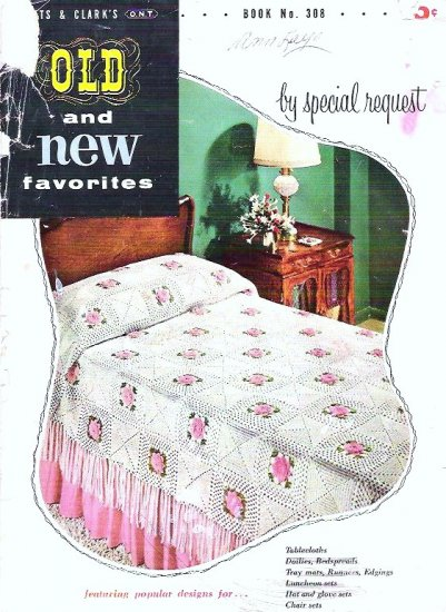 Coats and Clarks Crochet Booklet 1954 Vintage - Bedspread, Doilies, Hats, Gloves
