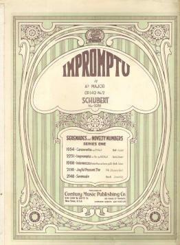 Impromptu by Franz Schubert 1924 Sheet Music In Nice Condition