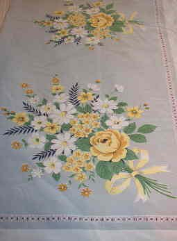 Floral Tablecloth Gray and Yellow 60 x 52 inches 1960s Vintage