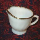 Golden Anniversary Creamer - Fire King Swirl Milk Glass with Gold Trim 1950s Era