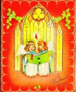 A Christmas Song Card Angels Singing in front of Candle Vintage