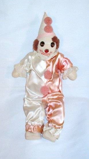 An ORIGINAL Sock Clown in Pink and White Satin w/ Felt Shoes/Hat VINTAGE