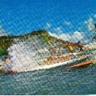 Surfers and Outriggers off Diamond Head Hawaii Post Card 1960s in Color Unused