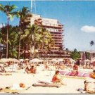 Famous Hawaiian Village Hotel and Beach 1960s Vintage Postcard Unused