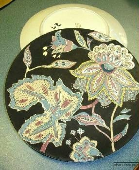2 Lot Asian Influence Decorative Wall Plaques Floral on Black ~ 1960s Retro