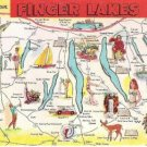 Greetings From Finger Lakes Illus Map - NY State Post Card 1960