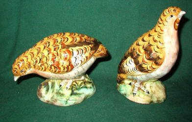Exquisite Pair of Quail ~ HiGH Gloss and Hand Painted in Italy