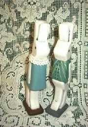 Pair of Tall Rabbits Hand Crafted / Painted / Signed
