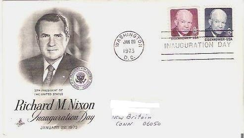 Richard Nixon Inauguration Day Jan 1973 fdc 8 and 6 c Eisenhower Stamps