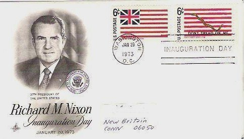 Richard Nixon Inauguration Day Jan 1973 fdc 2-6 c Stamps Dont Tread and Brit