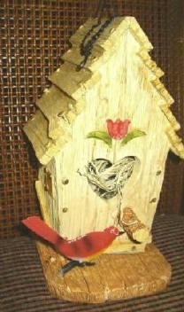Brand New Birdhouse Tulip and Cardinal Decoration -