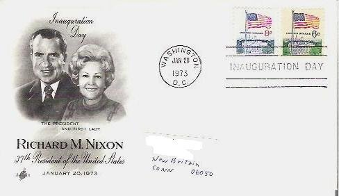 Richard / Pat Nixon Inauguration Day Jan 1973 fdc 8c and 6c Flag Stamps