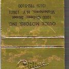 Cadillac Golden Matchbook 1902-1977 Anniv 30 Strike Unused