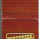 Ponderosa Steakhouse Matchbook Color Brown - 20 Strike Unused