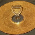 Gold Flower Pattern Sandwich Tid-Bit Platter w/Handle Vintage