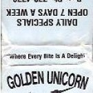 Golden Unicorn Diner and Motel in New York Matchbook Unused