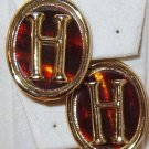Letter H on Amber Tortoise Shell Plastic Bakelite Clip On Earrings Vintage