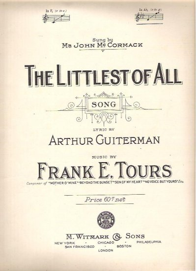 The Littlest of All Sheet music 1918 Arthur Guiterman