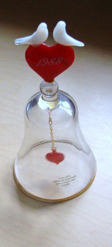 Crystal Bell with Opalescent White Doves and Red Hearts Collectible