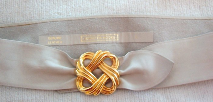 Jennifer Moore Genuine Leather Belt Gold Tone Buckle Size Large