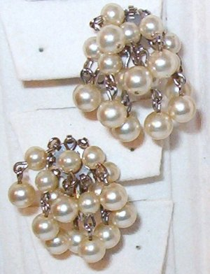 Cascading Faux Pearl Clip On Earrings Vintage ~ Wedding Thought?