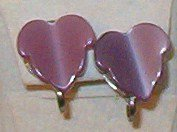Purple / Lavender Earrings Leaf Motif Thick Plastic Screw Back Vintage