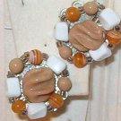 Acrylic AND Bead Clip-On Earrings Taupe Orange and White VINTAGE JAPAN