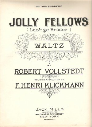 Jolly Fellows 1927 Sheet Music Bruder Vollstedt Klickman Version