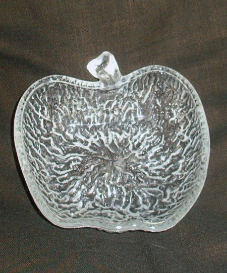 Apple Theme Art Glass Trinket Vanity Bowl Signed Italy