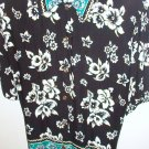 Caliche Short Sleeve Shirt Womens Sz 38/18W White Floral Print on Black