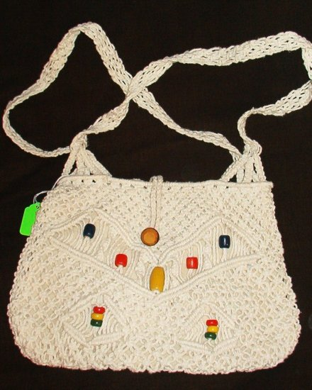 1970s Macrame Handmade Shoulderbag Purse Colorful Beads Hippie