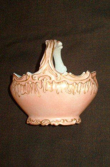 Antique Limoges Pink and Gold Fancy Handled Sugar Basket Green Stamp