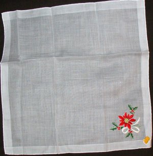 Hoefgen Handkerchief Hankie Vintage but New with Label Poinsettia