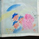 Vintage Hankie - Silk Handpainted Oriental Asian Scene Handkerchief
