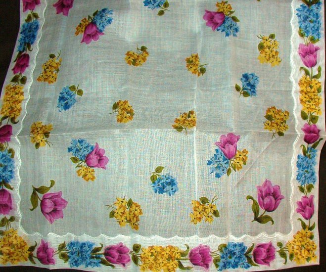 Hankie Handkerchief Vintage but New Crisp Multi Floral Design