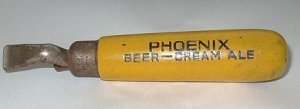 Vintage Phoenix Cream Ale Opener Bright Yellow Wood Handle